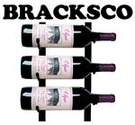 Bracksco Logo: 3 wine bottles on VintageView rack